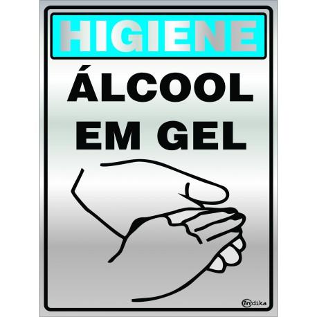 PLACA SINALIZACAO 15X20CM ALCOOL EM GEL INDIKA